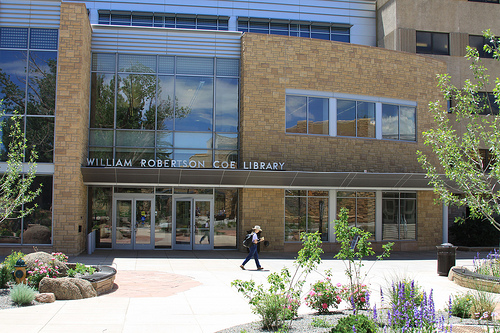 The front of the Coe Library
